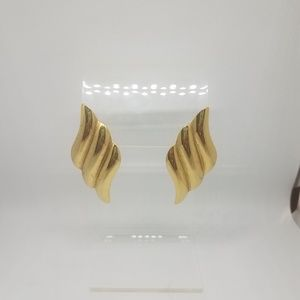 Gold Tone Post Earrings 3 Swirls Stacked Curves
